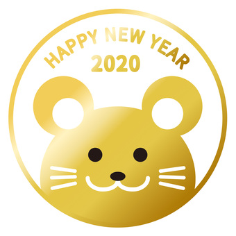 Stamp style mouse New Year's card material 02