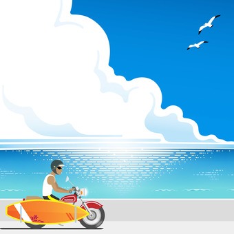 Man riding a bike to the sea to surf
