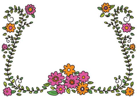 꽃 테두리 필기 바람
