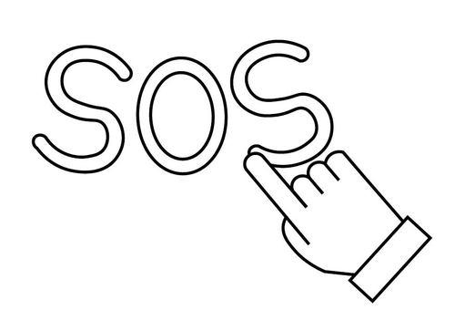 Hand writing SOS