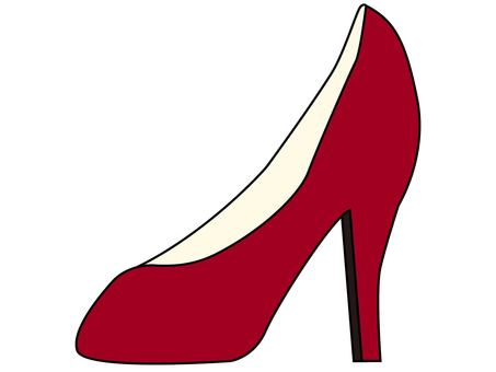 One side of high heels (red)