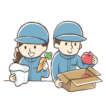 청과물의 박스 포장과 봉지 (남녀)