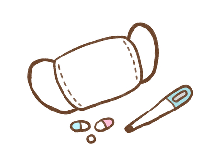 Mask, medicine and thermometer