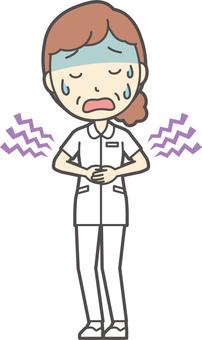 Middle-aged women nurse white coat-342-whole body
