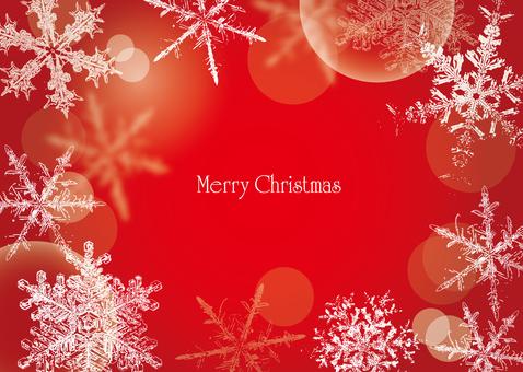 Christmas frame snow crystal red