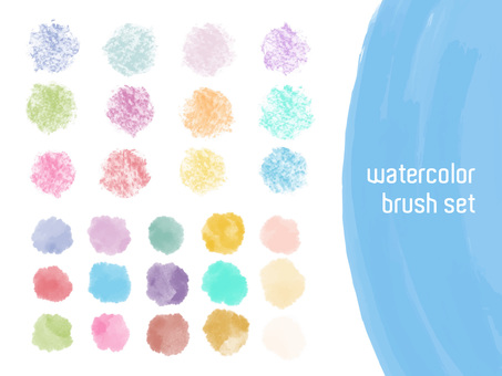 Watercolor brush and croquis circle motif