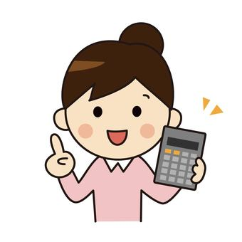 Woman holding a calculator