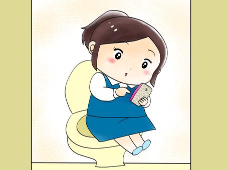 トイレでスマホを見る
