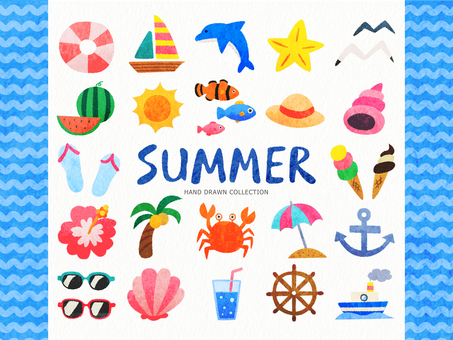 Summer hand-drawn-style illustration set