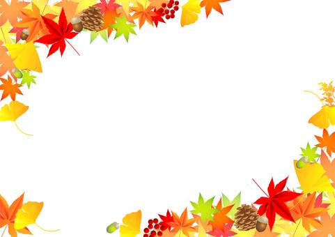 秋の紅葉植物フレーム02