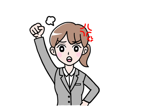 Full version of a woman in an angry fist raising an angry fist