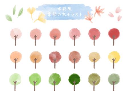 Watercolor style seasonal trees illustration
