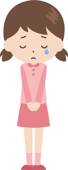 Girl | elementary school student | clothes | cry