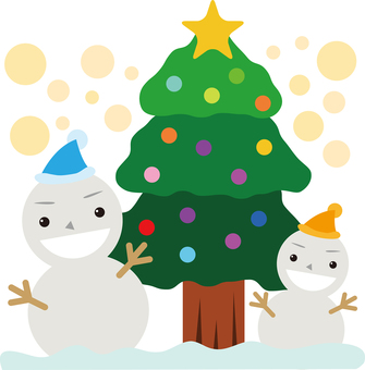 Christmas tree and snowman