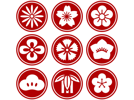 Japanese flower icon red