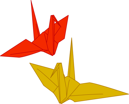 Folding cranes _ red _ gold
