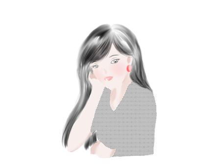 Woman with cheek stick