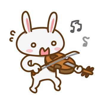 うまくバイオリンが弾けないうさぎさん