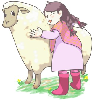 Sheep and girls