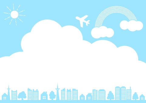 青空と飛行機と木と虹のラインフレーム枠