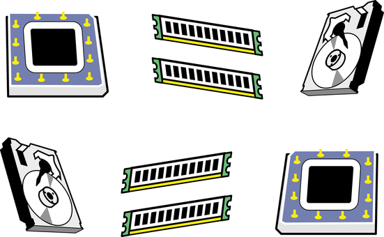 PC Parts Icon Set Material Collection
