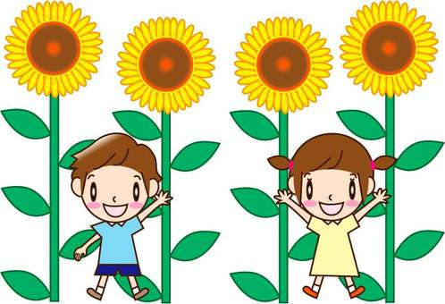 Sunflower and children