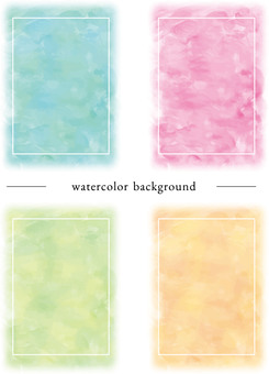 Watercolor four color post card