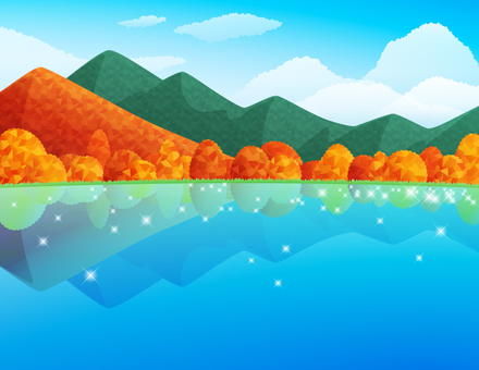 秋の紅葉する山と湖