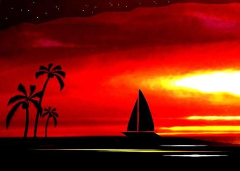 浪漫的夕陽南太平洋