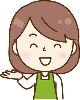 Guiding apron women green