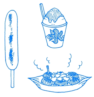 Shaved ice and Octopus grill and Frankfurt