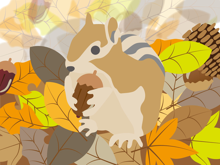 Squirrel and fallen leaves