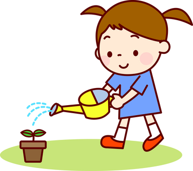 A girl who does watering