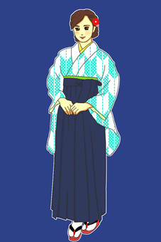 畢業典禮Hanamaru閃爍淡藍色波爾卡圓點