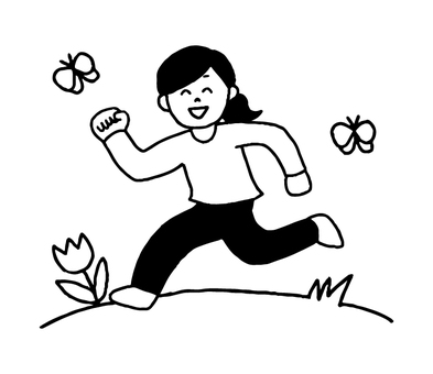 A woman running in the meadow (simple)