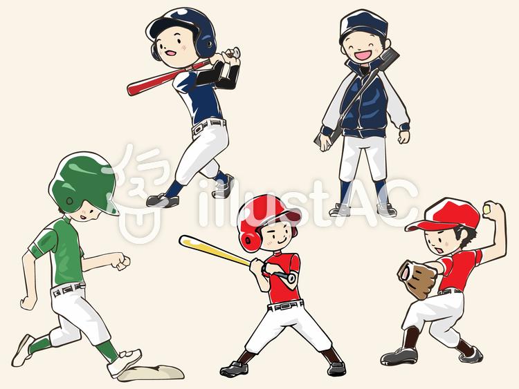 人物-男の子-野球のイラスト