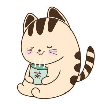 차를 마시는 고양이