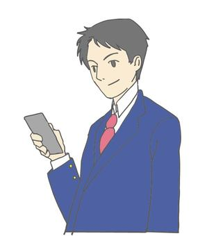 A smartphone and a male