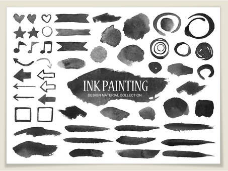 Watercolor decoration set (black)