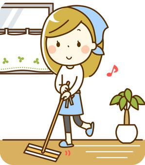 복도를 청소하는 여자