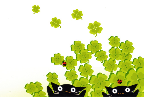 Patterns of ladybugs and black cats and clovers
