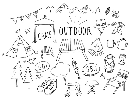 Camping Outdoor handwritten black