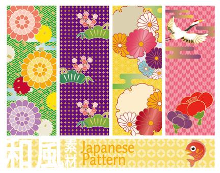 Japanese pattern Japanese style pattern set