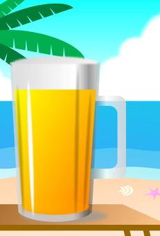 여름 해변에서 맥주