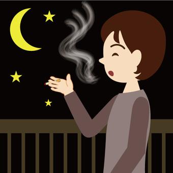 A man who smokes on the veranda