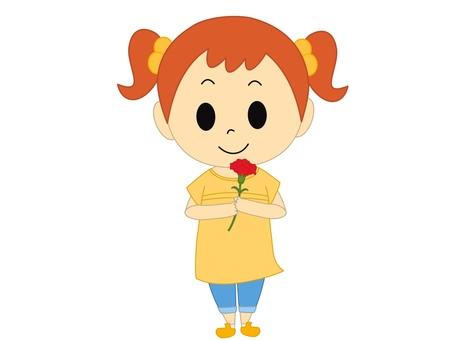 康乃馨黃色的女孩