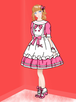 Girl in pink frithing clothes