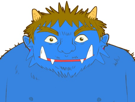 Blue Ogre. From above the chest