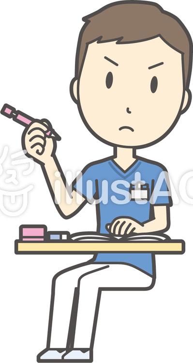 看護師スクラブ男性-291-全身のイラスト