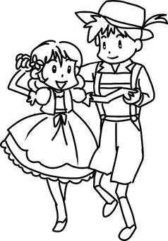 Folk dance (line drawing)